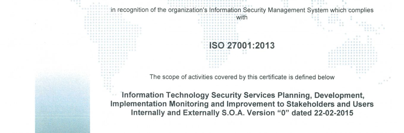 SCCT has certified ISO 27001